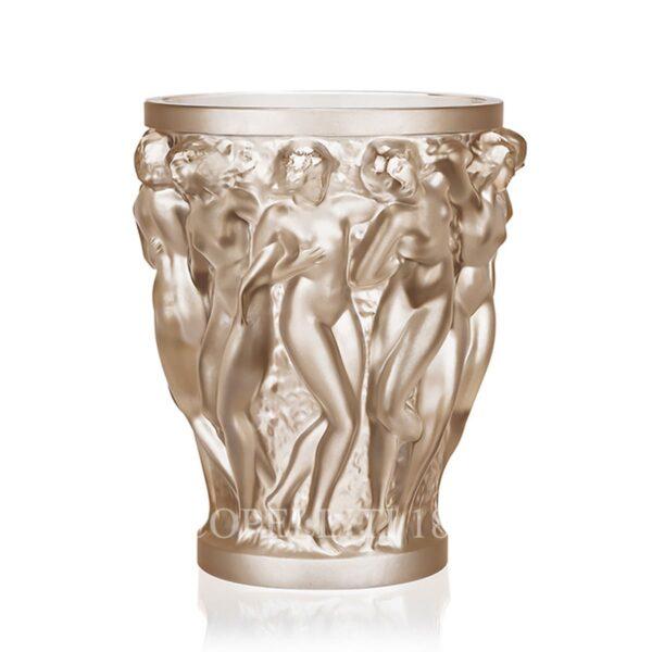 lalique bacchantes gold luster crystal vase