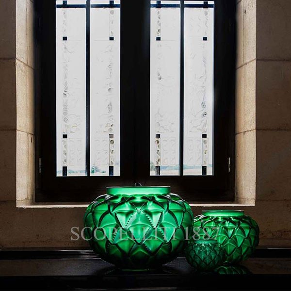 lalique languedoc crystal green vase