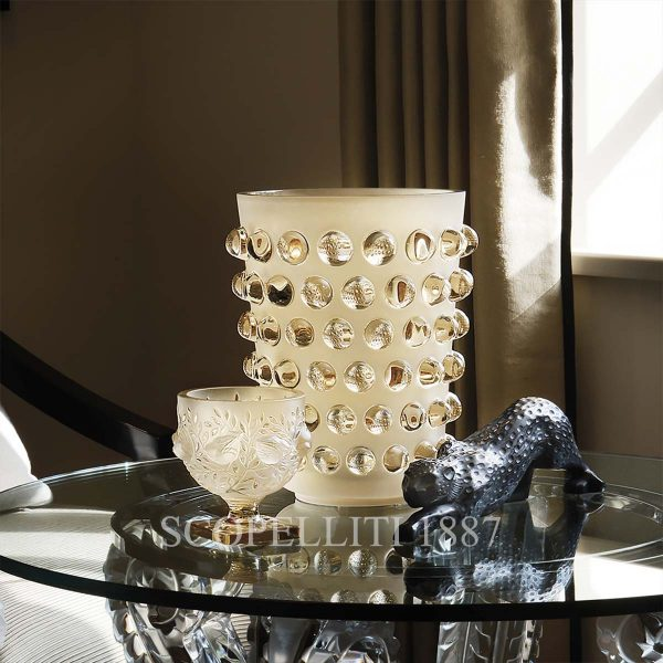 lalique golden crystal mossi xxl vase