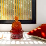 lalique amber crystal small buddha sculpture