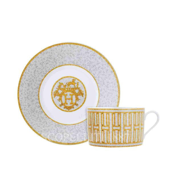 hermes limoges porcelain mosaique au 24 gold breakfast cup and saucer