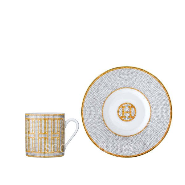 hermes limoges porcelain mosaique au 24 gold coffee cup and saucer