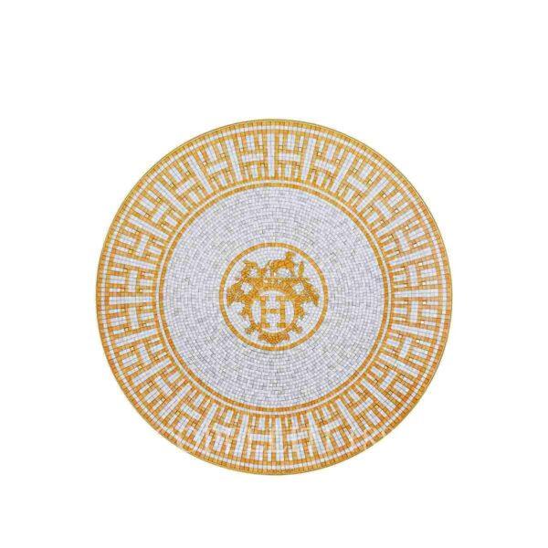hermes limoges porcelain mosaique au 24 gold dessert plate