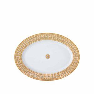 hermes limoges porcelain mosaique au 24 gold oval platter small