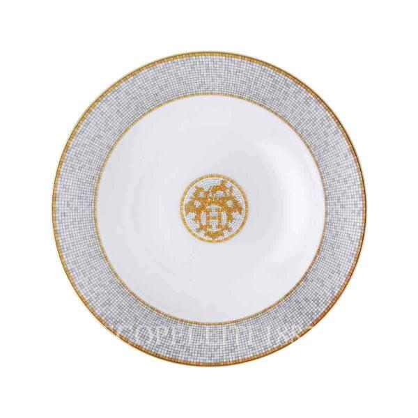 hermes limoges porcelain mosaique au 24 gold round deep platter