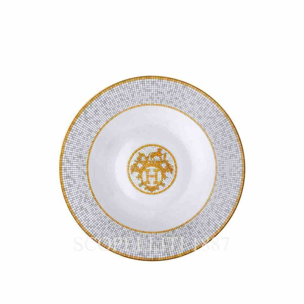 hermes limoges porcelain mosaique au 24 gold soup plate