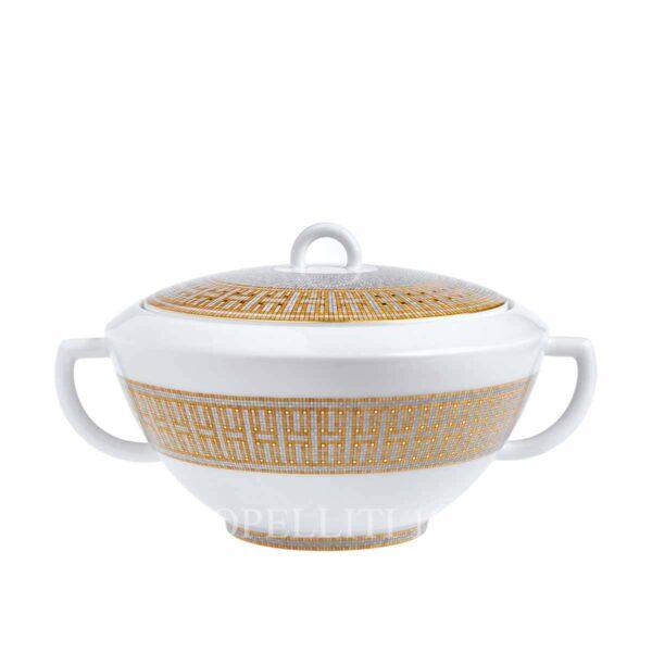 hermes limoges porcelain mosaique au 24 gold soup tureen
