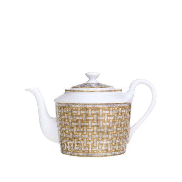 hermes limoges porcelain mosaique au 24 gold teapot