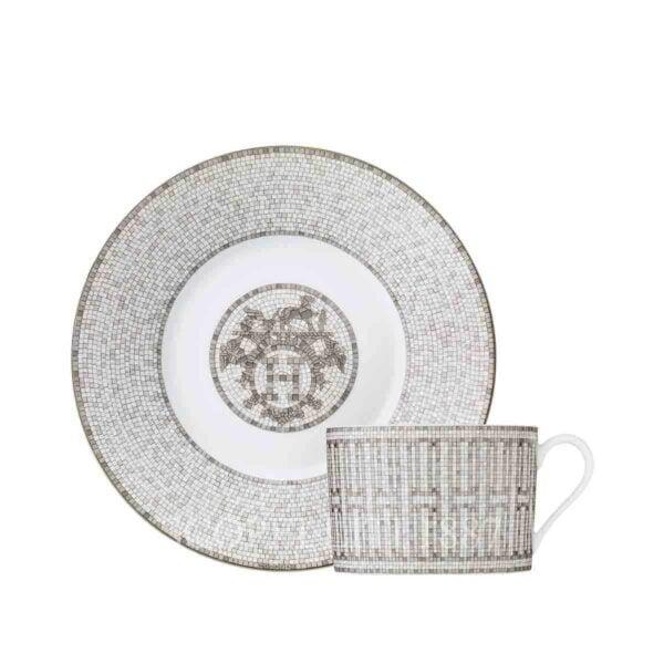 hermes limoges porcelain mosaique au 24 platinum breakfast cup and saucer