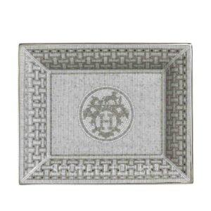 hermes limoges porcelain mosaique au 24 platinum change tray