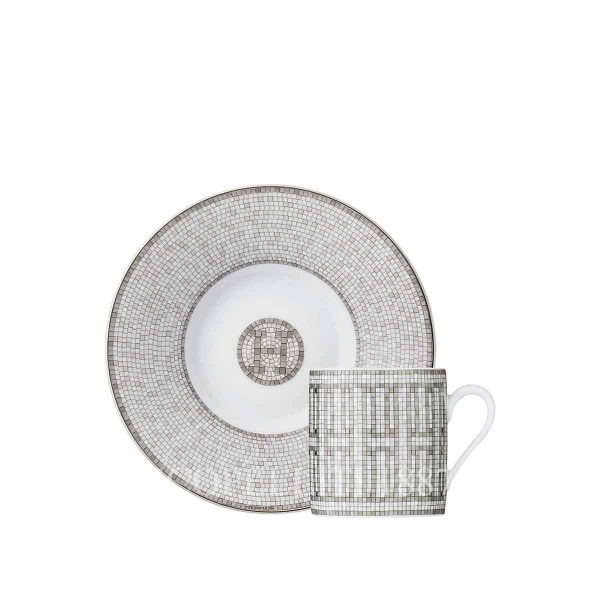 hermes limoges porcelain mosaique au 24 platinum coffee cup and saucer