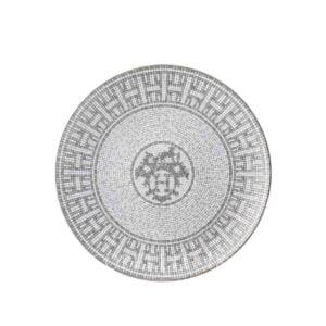 hermes limoges porcelain mosaique au 24 platinum dessert plate