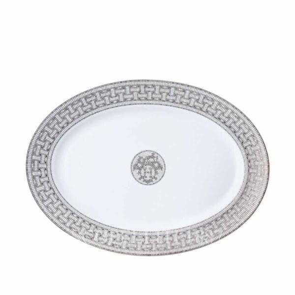 hermes limoges porcelain mosaique au 24 platinum oval platter large