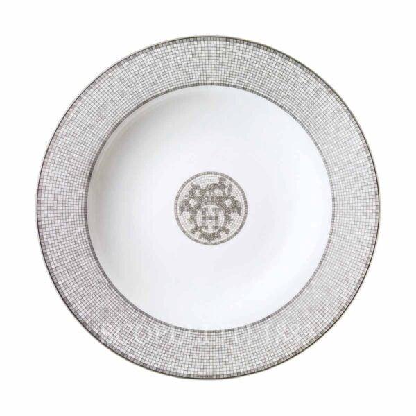hermes limoges porcelain mosaique au 24 platinum round deep platter