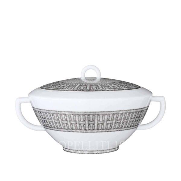 hermes limoges porcelain mosaique au 24 platinum soup tureen