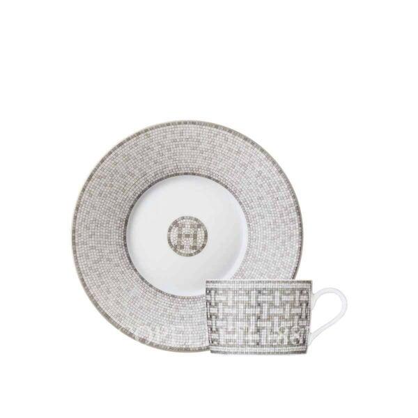 hermes limoges porcelain mosaique au 24 platinum tea cup and saucer