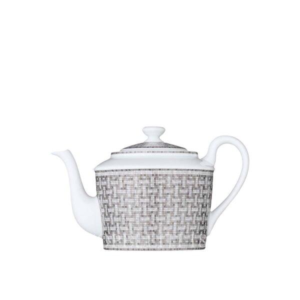 hermes limoges porcelain mosaique au 24 platinum teapot