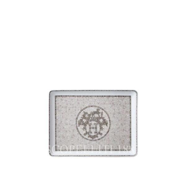 hermes limoges porcelain mosaique au 24 platinum tray small