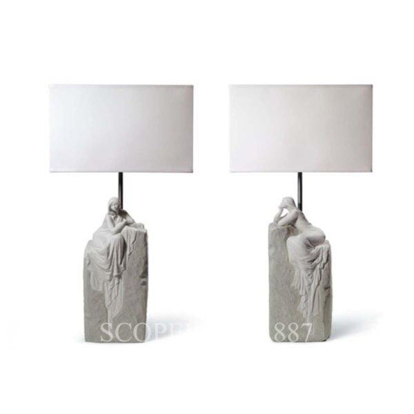 lladro set of 2 table lamps meditating woman