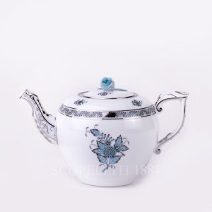 herend apponyi turquoise platinum teapot