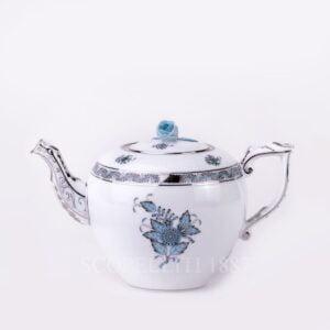 herend apponyi turquoise platinum teapot