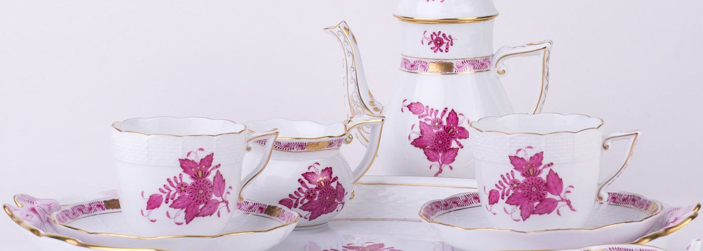 herend apponyi pink coffee set