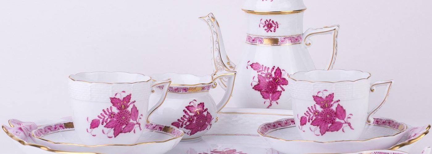 herend apponyi pink coffee set