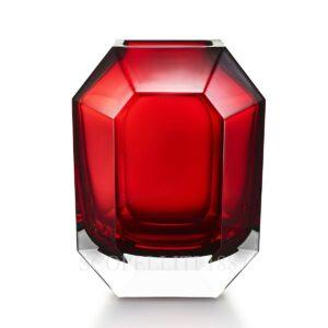 baccarat octagone red crystal vase