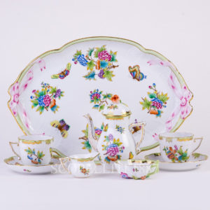 herend coffee set 2 persons queen victoria