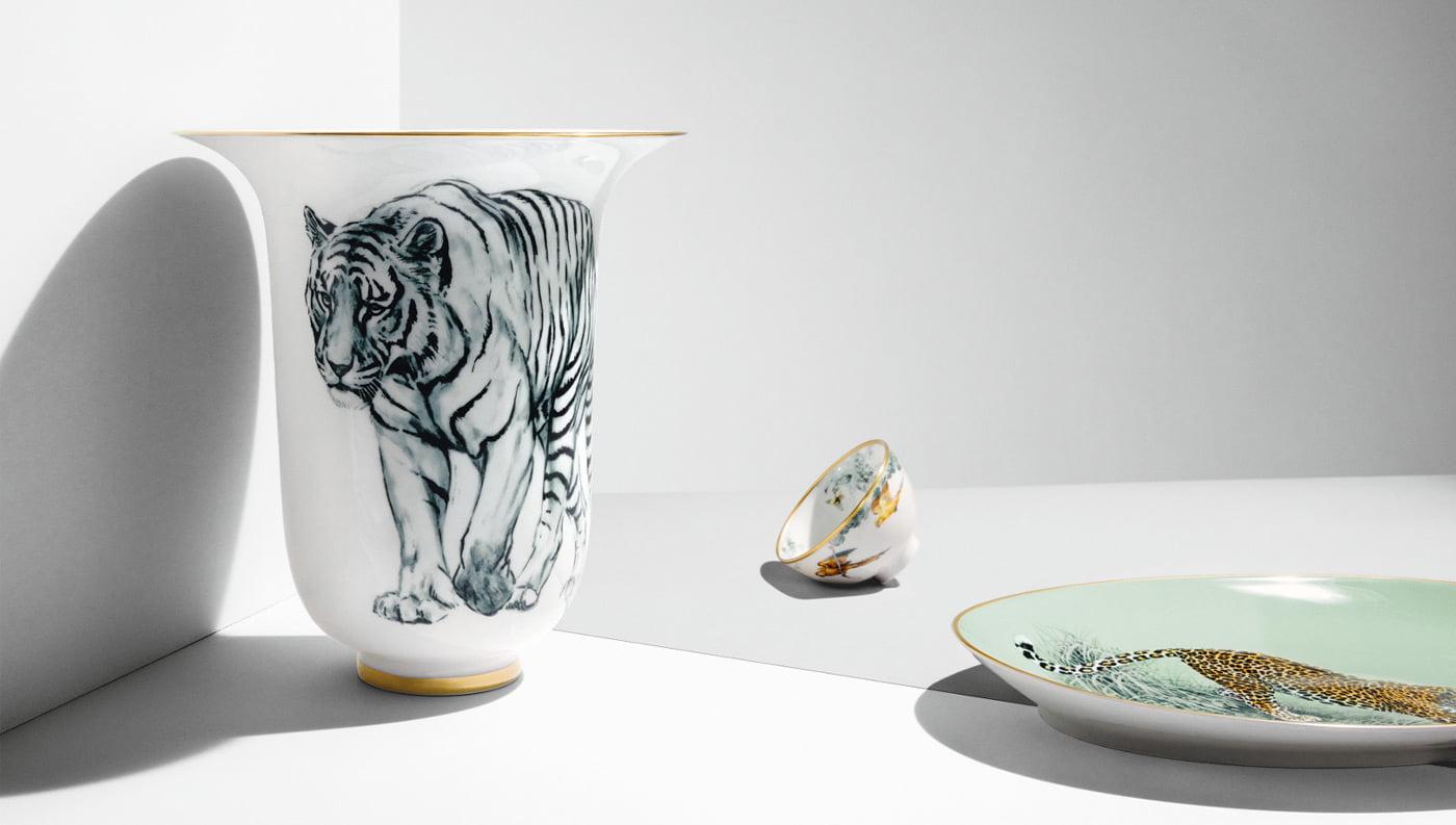 hermes porcelain tiger vase