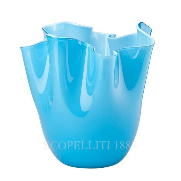 venini fazzoletto light blue vase murano glass