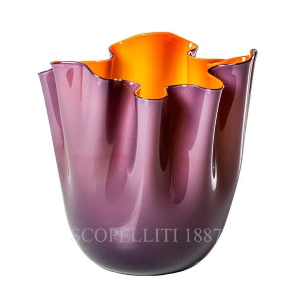 venini fazzoletto vase indigo orange