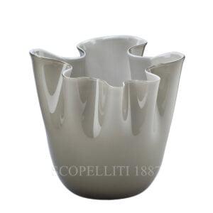 fazzoletto venini vase murano glass grey