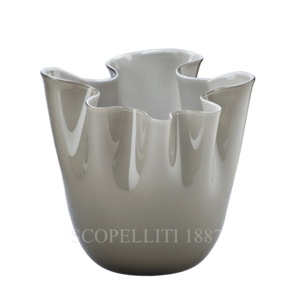 fazzoletto venini vase murano glass grey