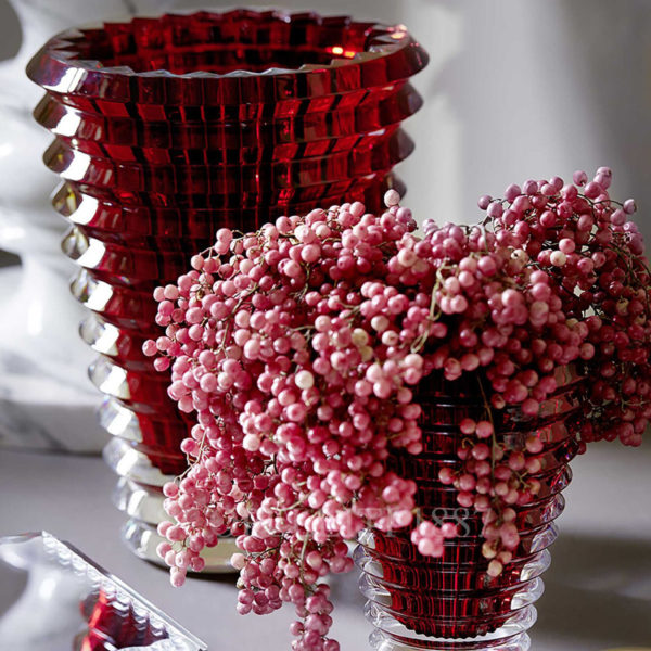 small red baccarat eye vase 1