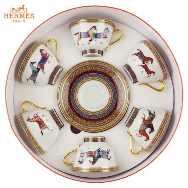 hermes cheval 6 tea cups gift box