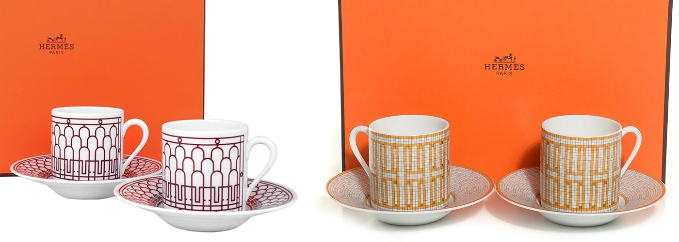 hermes coffee cup set of 2 gift box