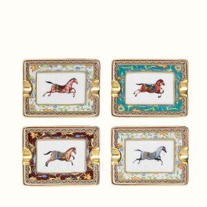 hermes set of 4 mini ashtrays gift set cheval d orient suite