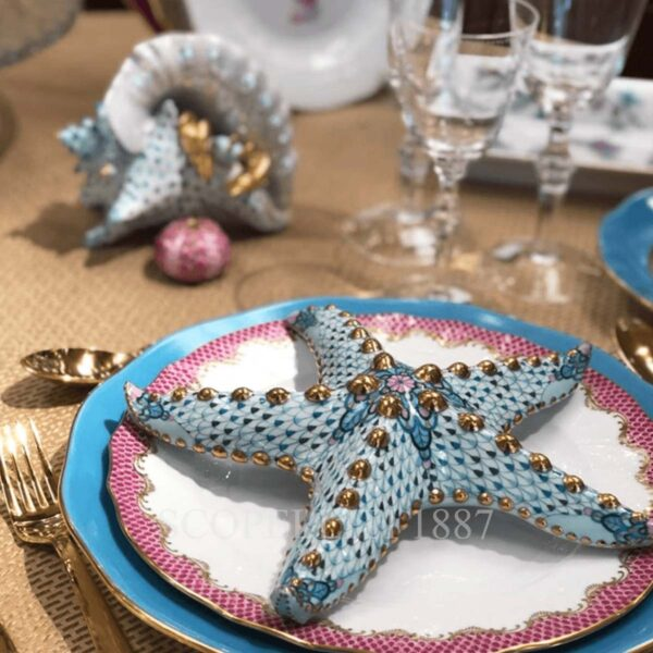 herend limited edition sea star light blue