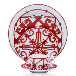 hermes 5 piece place setting red
