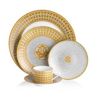 hermes 5 piece place setting mosaique au 24 gold