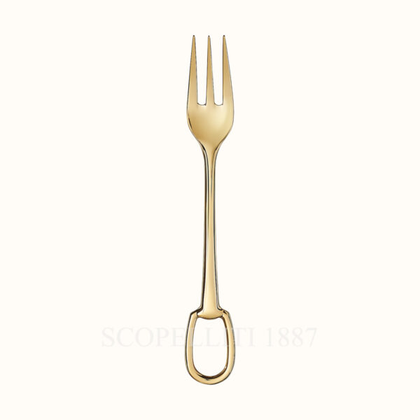 hermes dinner fork grand attelage gold plated
