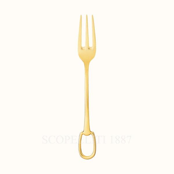 hermes serving fork grand attelage gold plated 01
