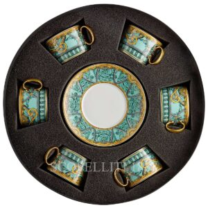 versace 6 tea cup and saucer gift set scala del palazzo green