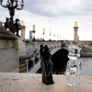 baccarat bearbrick black and clear crystal figurines