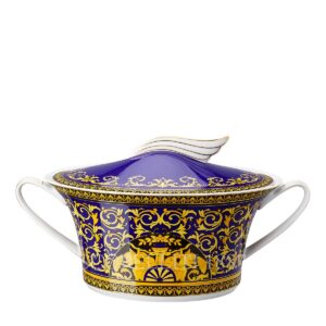 versace covered vegetable bowl medusa blue