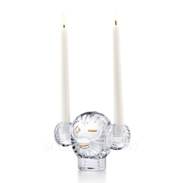 baccarat clear sculpture candle holder monkey