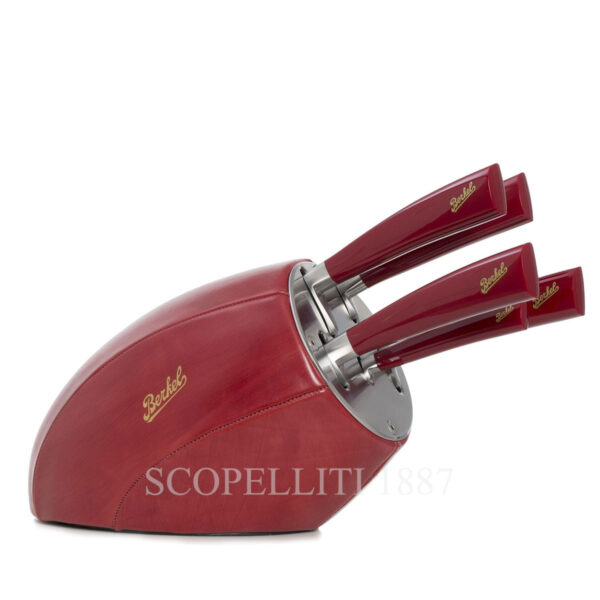 berkel gift block with 5 knives red leather