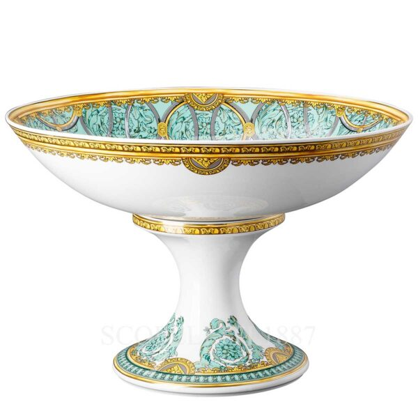 versace bowl 35 cm with foot scala palazzo green
