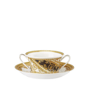 versace cream soup with saucer i love baroque